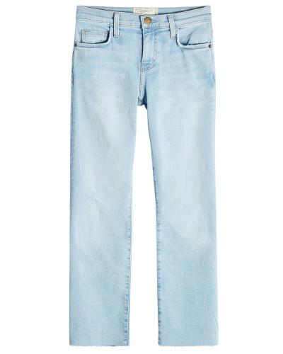 Cropped Flared Jeans mit offenen Säumen
