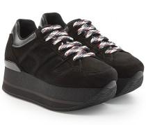 Plateau-Sneakers aus Veloursleder und Leder
