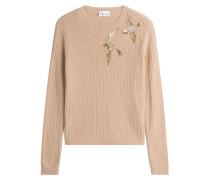 Rippstrick-Pullover mit Kaschmir und Pailletten