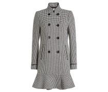 Karierter Mantel mit Wolle und Schößchen