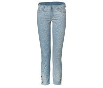 Light Blue Cotton Slim Jeans with Ankle Snaps