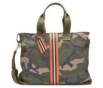 Camouflage-Shopper aus Baumwolle mit Leder-Details