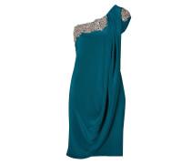 Crystal Embroidered Silk Crepe One Shoulder Dress in Teal