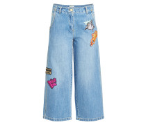 Jeans Culottes mit Patches