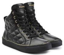 High-Top-Sneakers aus gestepptem Leder