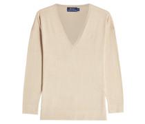 V-Pullover aus Baumwolle und Seide