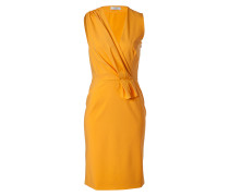 Muskmelon Draped Wool-Blend Sheath Dress
