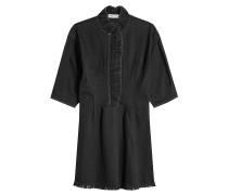Kleid aus Denim mit Rüschen und Fransen