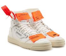 Sneakers aus Leder und Mesh mit Applikation