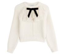 Pullover mit Schurwolle und Spitzenbesatz