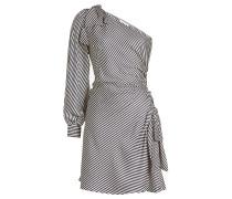Gestreiftes One-Shoulder-Kleid mit Seide