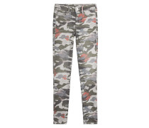 Mid-Rise-Skinny mit Camouflage-Print