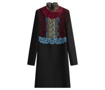 Minikleid aus Schurwolle und Seide mit Spitze