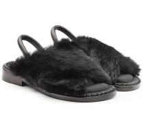 Sandalen aus Leder mit Kaninchenfell
