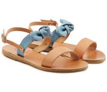 Sandalen Clio Bow aus Leder und Denim