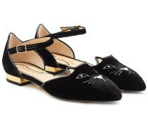 Flache Sandalen Kitty aus Samt