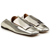 Loafers aus beschichtetem Ziegenleder mit Zierschnalle