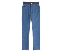 Cropped Jeans mit geflochtenem Bund