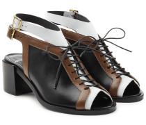 Geschnürte Leder-Sandalen im Colorblock-Look