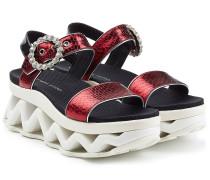 Plateau-Sandalen aus Textil und Leder