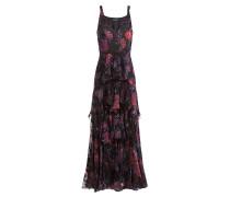 Seidenkleid mit Stufen-Volants und Blütenprint