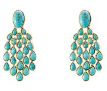 18kt vergoldete Ohrringe Cherokee mit Türkisen