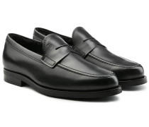 Loafers aus Leder mit Lammfell