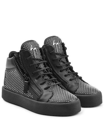 giuseppe zanotti damen high top sneakers aus leder mit. Black Bedroom Furniture Sets. Home Design Ideas