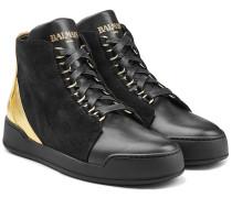 High-Top-Sneakers aus Velours- und Metallic-Leder