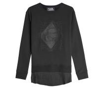 Besticktes Sweatshirt aus Baumwolle mit plissiertem Saum