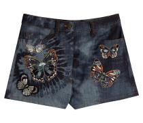 Denim-Shorts mit bestickten Schmetterlingen
