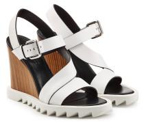 Wedge-Sandalen aus Leder mit Profilsohle