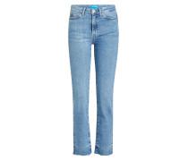 Straight Leg Jeans mit ausgefranstem Saum
