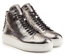 High Top Sneakers aus Leder im Metallic-Look