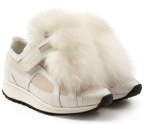 Plateau-Sneakers aus Leder mit Fuchsfell