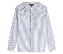 Gestreifte Bluse aus Baumwolle mit Volantkragen