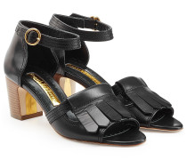 Block-Heel-Sandalen aus Leder mit Fransen
