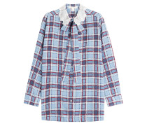 Oversize-Bluse mit Schluppenkragen und Karo-Print
