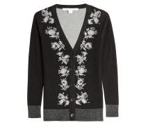 Woll-Cardigan mit floralem Muster und Schmucksteinen