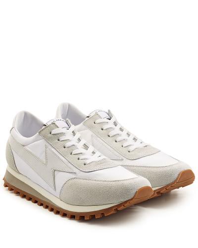 Sneakers mit Glatt- und Veloursleder