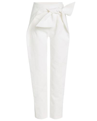 Straight Leg Pants aus Baumwolle mit Schleife
