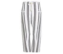 Gestreifte Wide Leg Pants aus Baumwolle und Leinen
