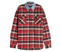 Kariertes Hemd aus Baumwolle mit Kragen aus Denim