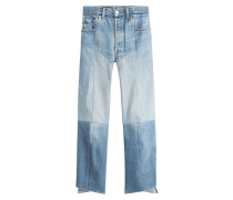 Straight Leg Patchwork Jeans