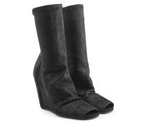 Open-Toe-Stiefel aus Leder mit Wedge-Absatz