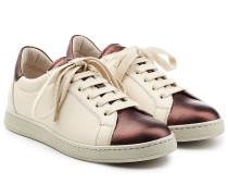 Leder-Sneakers mit Metallic-Akzenten