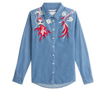 Bestickte Jeansbluse