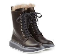 Leder-Boots mit Fellbesatz