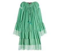 Minikleid aus Baumwolle und Seide mit Spitze und Volants