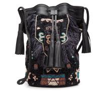 Bestickte Bucket Bag aus Leder und Baumwolle